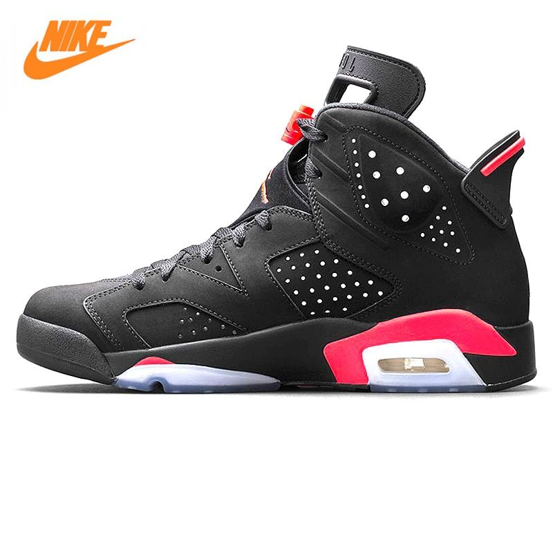 Nike Air Jordan 6 Black Infrared AJ6 Men Basketball Shoes, Black & Red, Shock Absorption Anti-Slip Support  Balance 384664 023