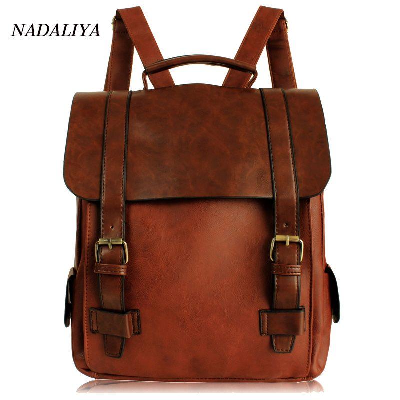 2017 Fashion Women kanken PU Leather Backpack Vintage Backpack Retro Small Lady Schoolbag Mochila Brown Black School Backpacks