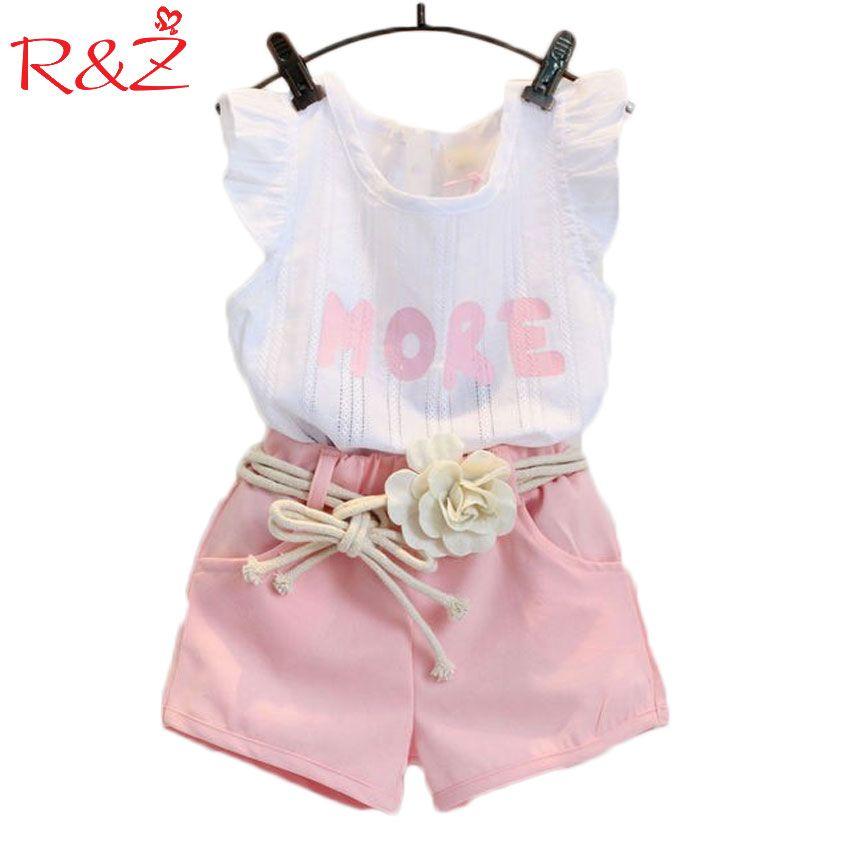 Baby Children Clothes Sets 2018 Girls Fly Sleeve Flower Cotton Shirt + Shorts Summer Set Sport Belt Print Letter Clothes k1