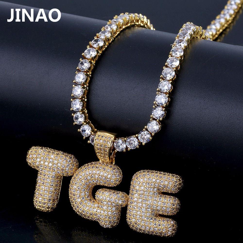 Nom personnalisé glacé bulle lettres chaîne pendentifs colliers hommes charmes Zircon Hip Hop bijoux avec or argent chaîne de Tennis