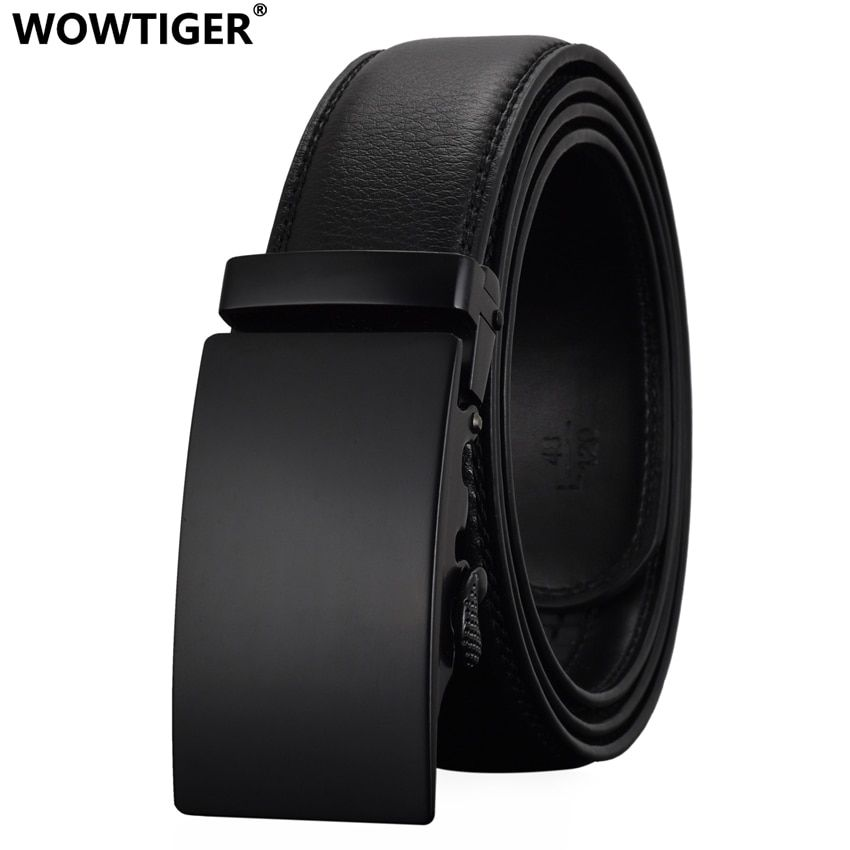 WOWTIGER Fashion Designers Men Automatic Buckle <font><b>Leather</b></font> luxury Belts Business Male Alloy buckle Belts for Men Ceinture Homme