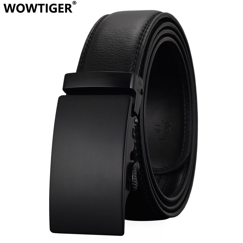 WOWTIGER Fashion Designers Men <font><b>Automatic</b></font> Buckle Leather luxury Belts Business Male Alloy buckle Belts for Men Ceinture Homme