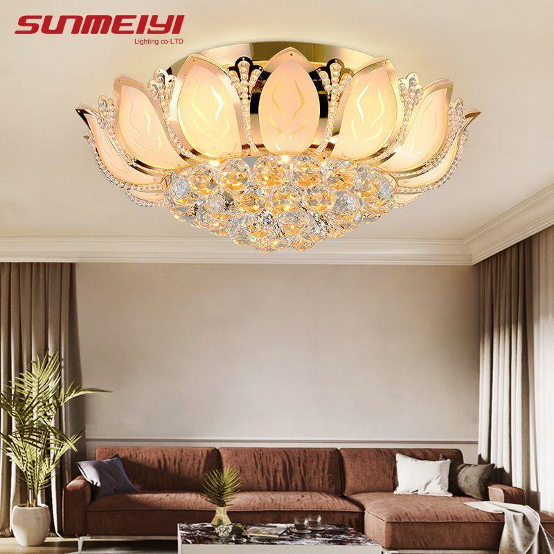 Plafonnier moderne fleur de Lotus avec abat-jour en verre plafonnier en or pour salon chambre lampara de techo abajur