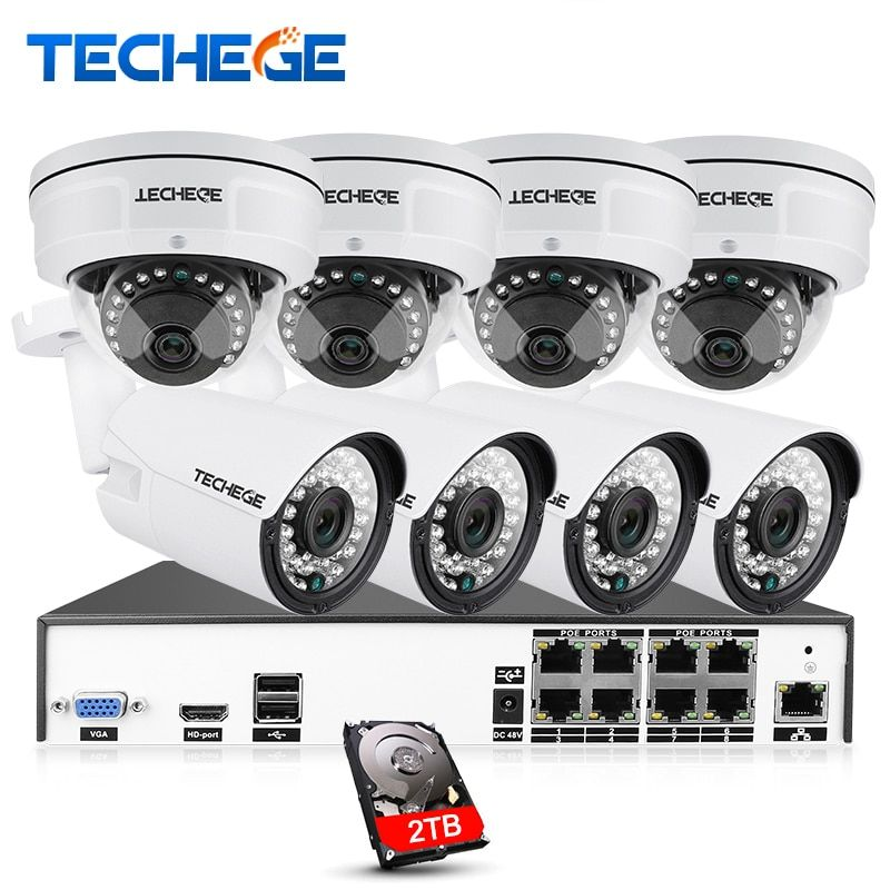 Techege H.265 8CH CCTV System 4MP POE NVR 4.0MP IP Camera Dome Camera Vandalproof Night Vision Video Surveillance System
