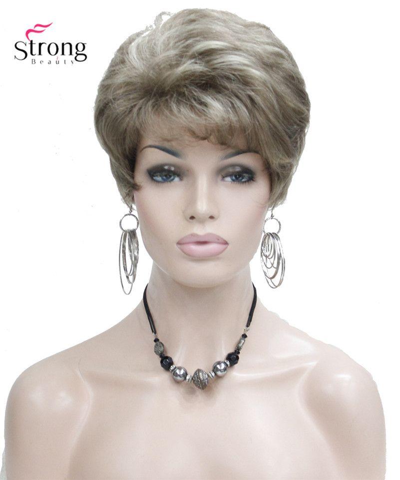 Lady Femmes Ondes Courtes Syntheic Cheveux Perruque Blonde avec Faits Saillants Pleine perruques Couleur Pour choisir