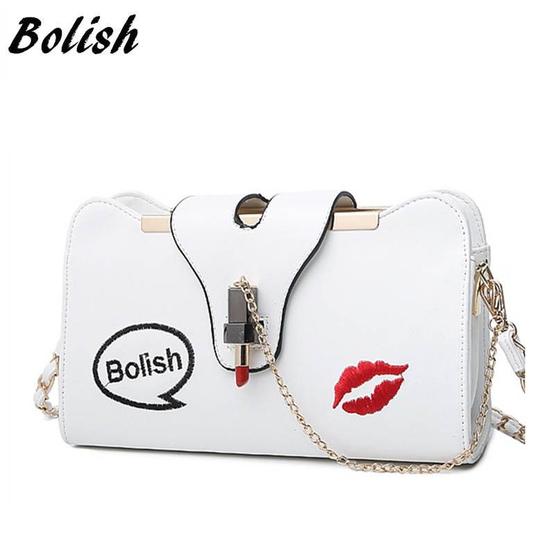 Bolish Brand New Korean  Embroidery Lock Small Lipstick Simple Shoulder Bag Chain Strap Messenger Bag Fashion Women Bag