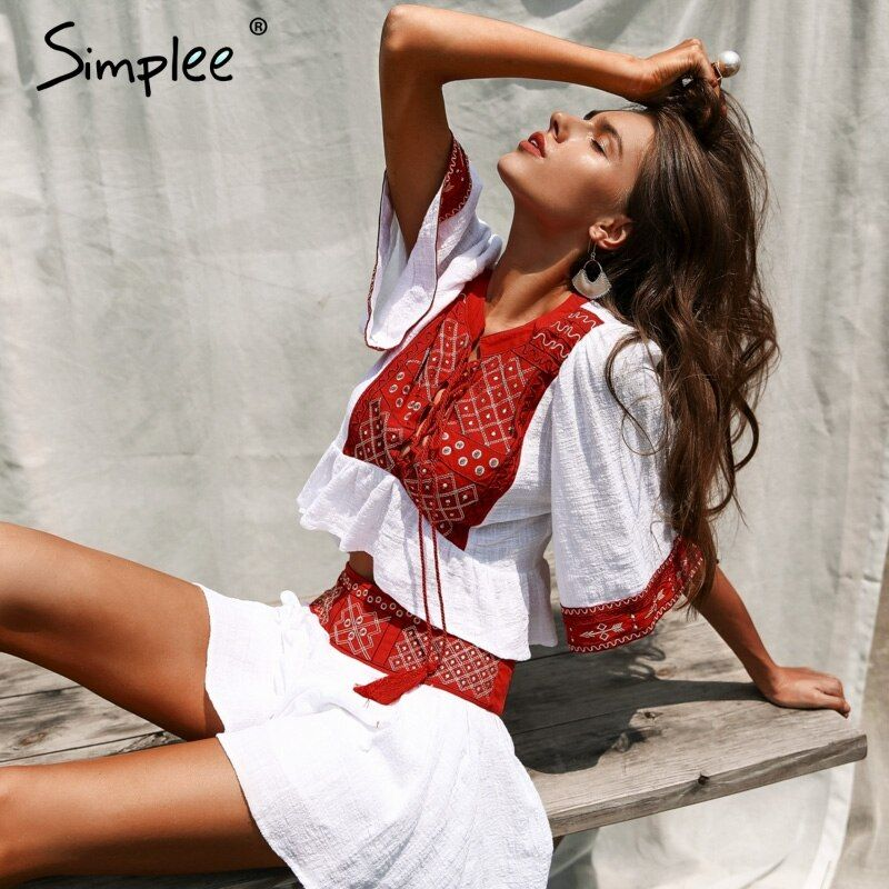 Simplee Lace up embroidery two-piece romper Women jumpsuit tassel boho beach playsuit 2018 Ethnic summer macacao <font><b>feminino</b></font>