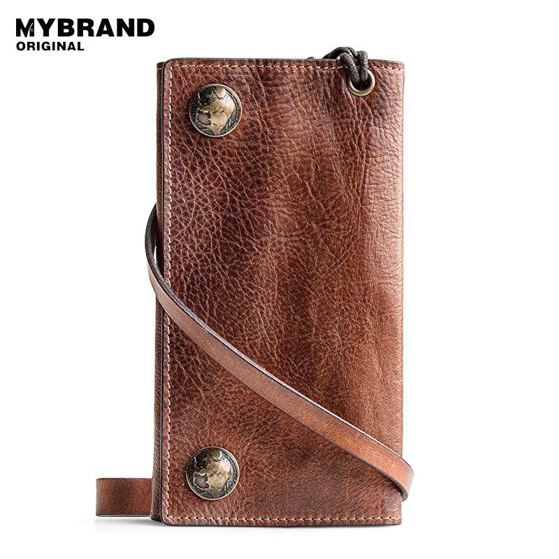 MYBRANDORIGINAL aus echtem leder lange brieftasche kuh leder brieftasche für mann vintage ticket-ordner mit metall kette brieftasche Q44
