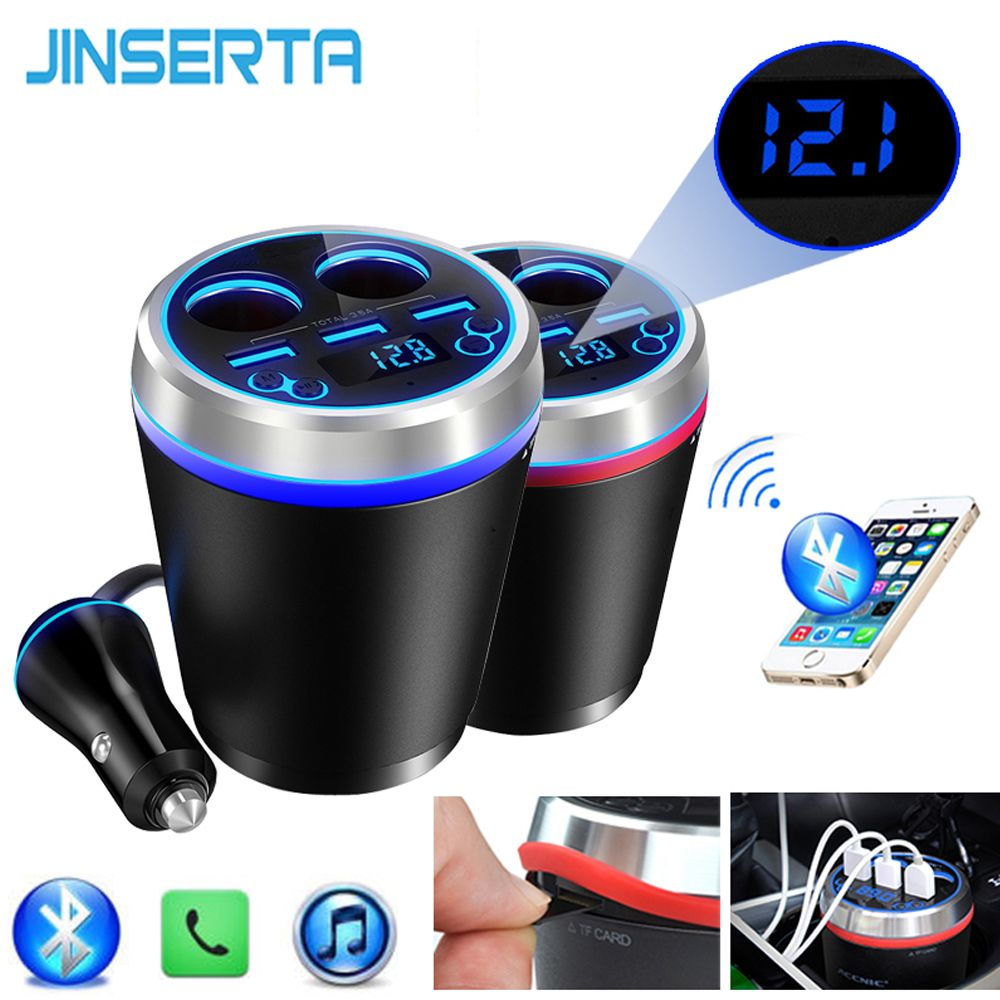 JINSERTA TF/Micro SD Music MP3 Player Bluetooth Car Kit FM Transmitter HandsFree Cigarette Lighter Splitter 3 Ports USB Charger