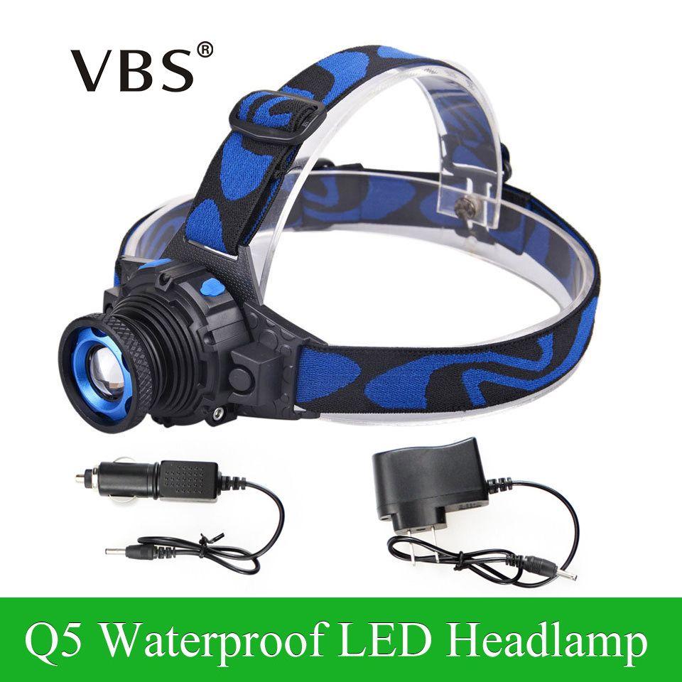 Phare réglable Cree Q5 lampe frontale LED étanche 500lm batterie au Lithium intégrée Rechargeable 3 Modes Zoomable + chargeur de voiture