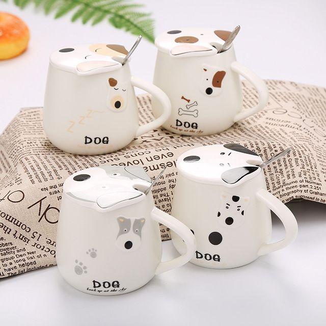 Cute Cartoon Coffee Cup Creative Dog Mug with Lid and Spoon Ceramic Milk Mugs Office Breakfast Cup Drop Shipping
