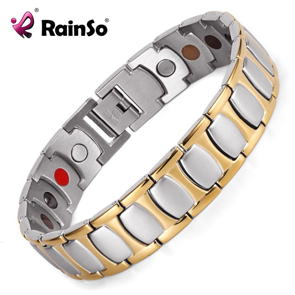 Guérison Magnétique Bracelet Hommes/Femme 316L Acier Inoxydable 5 Soins de Santé Éléments Or Bracelets & Bangles Main Chaîne Bracelet hommes