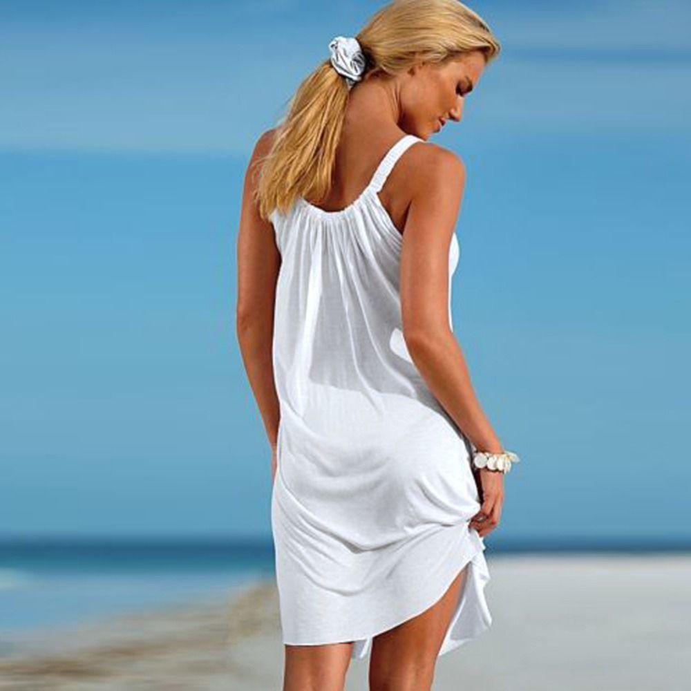 Frauen Sexy Sommer Sleeveless Abendgesellschaft Strandkleid Short Mini-Ups Beachwear Badebekleidung Swim Cover Up