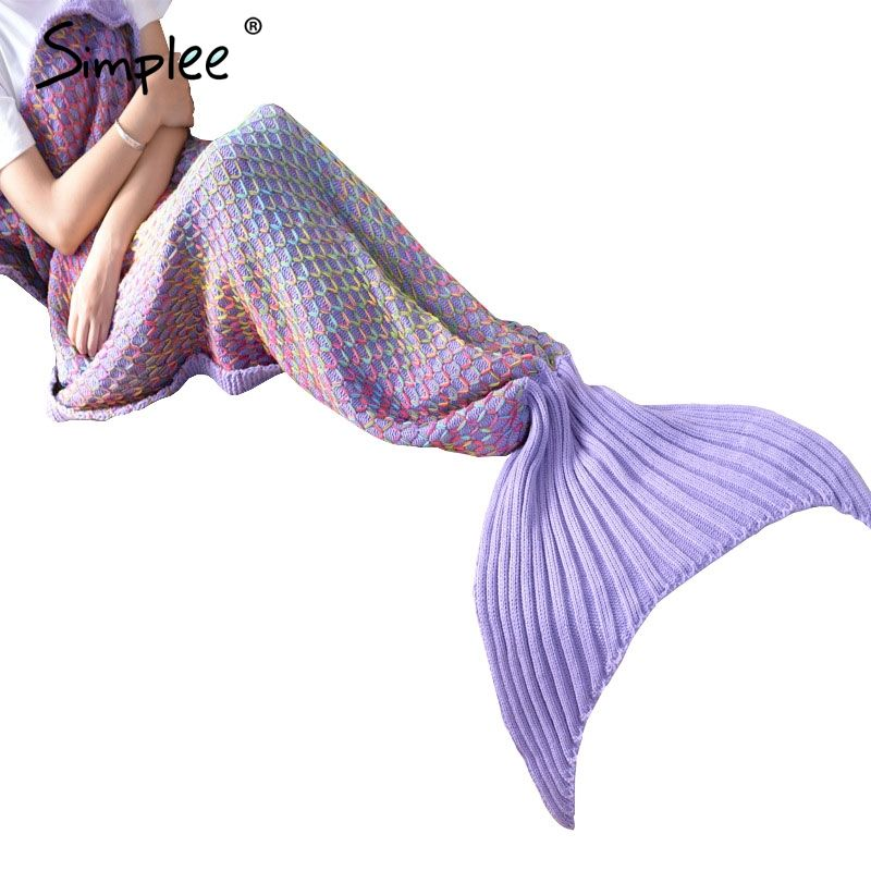 Simplee Knitting throw mermaid blanket on the bed Autumn winter warm fishtail sofa blanket Multicolor soft portable sleeping bag