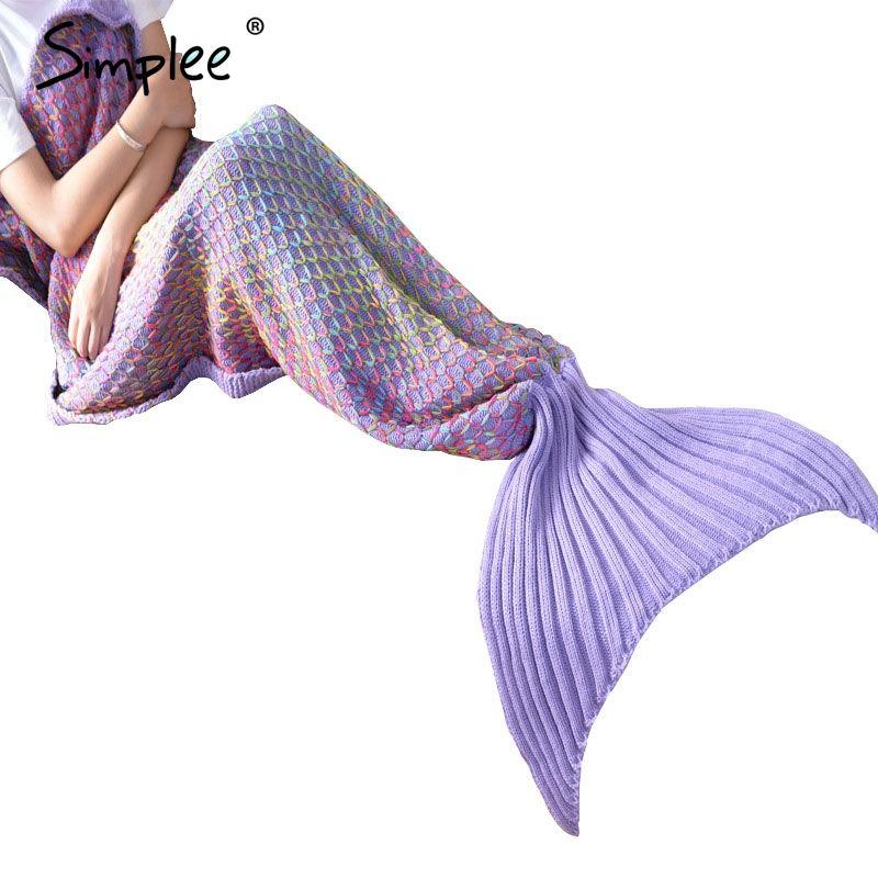 Simplee tiro Knitting mermaid fishtail sofá manta manta en la cama Otoño invierno cálido Multicolor portable suave saco de dormir