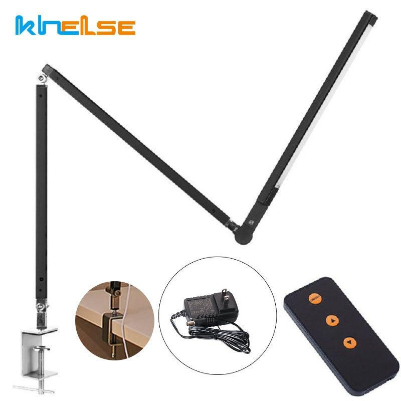 New LED Desk Lamp,Architect 8W Highly Office Table Lamp Metal Swing Long Arm Dimmable Clip on Table Lighting 3 Level Brightness