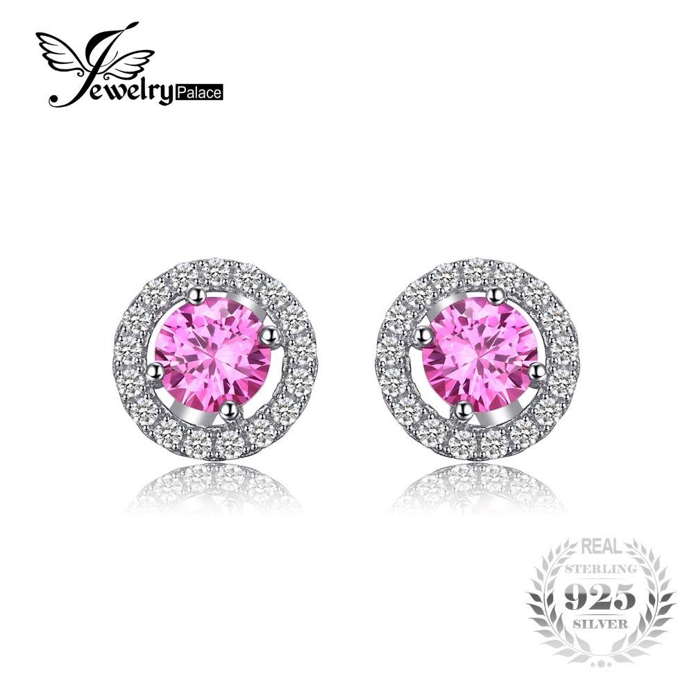 JewelryPalace 1.4ct Creado Zafiro Rosa 925 Pendientes de Plata Esterlina Redondo Clásico de Diseño de Moda de Joyería Fina para Las Mujeres