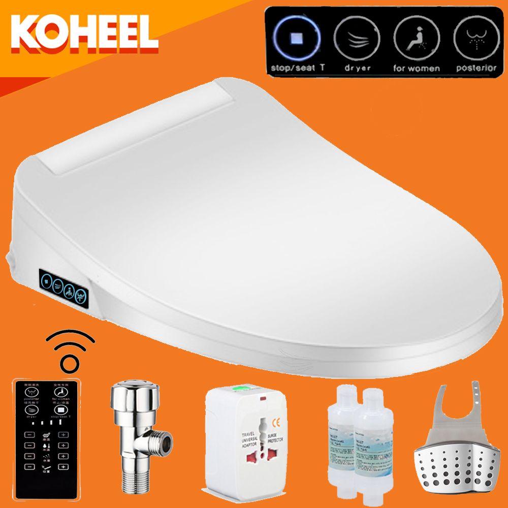 KOHEEL Intelligent Toilet Seat Washlet Elongated Electric Bidet Cover Smart Bidet Toilet Seats Heating Sits Led Light Wc