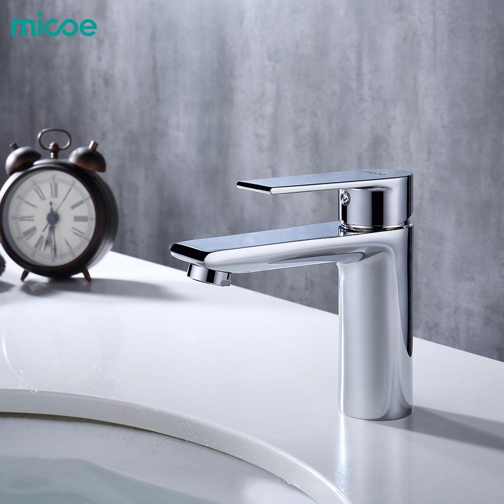 Micoe nouveau bassin robinet bassin robinets salle de bain robinet bassin évier pont monté bassin mélangeur Chrome laiton salle de bain robinets H-HC217