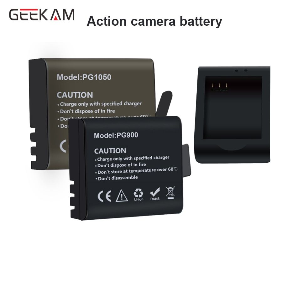 GEEKAM action camera battery Charger A9/S9/H9/H9R/H3R/H8R/Original 900/1050 Milliampere battery FOR eken h9r/h9 H3/H3R H8PRO