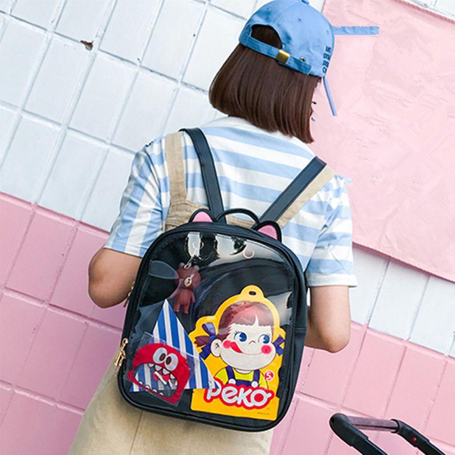 Lovely Cat Ear Leather Backpacks Candy Color Transparent Bag <font><b>Children</b></font> Shoulder Bags School Teenage Girls Travel Bagpack Itabag