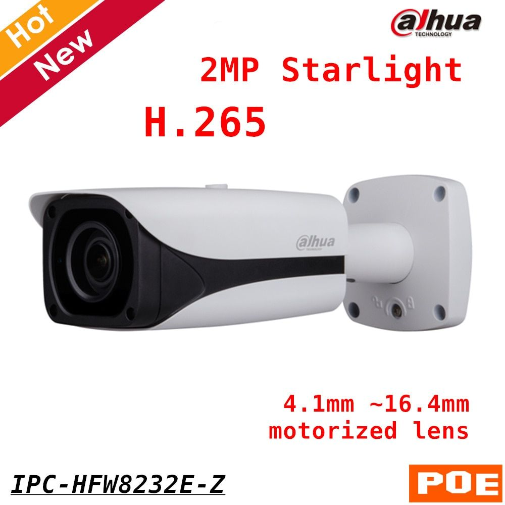 New IP Camera Dahua English version IPC-HFW8232E-Z 2MP Starlight IR Bullet Network Camera H.265 4.1mm ~16.4mm motorized lens POE