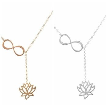 Simple Style Mode Lotus Lariat Pendentif Collier pour les Femmes Fleur De Lotus Bijoux Colliers Parti Cadeaux Or/Argent