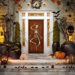 halloween backdrops for photography 200x300cm Skeleton man Decor The Wood Door European Style Building Digital Background Cloth