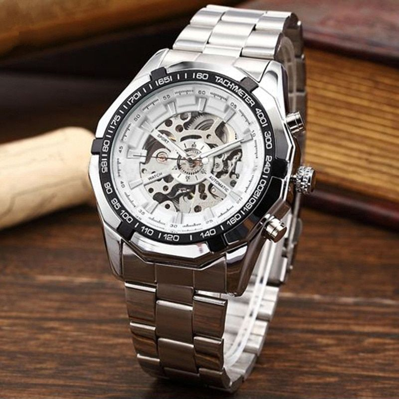 Fashion New 2017 Mens Watches Stainless Steel Hand-Winding hollow Automatic Diver Sport Mechanical Wrist Watch relojes <font><b>hombre</b></font>