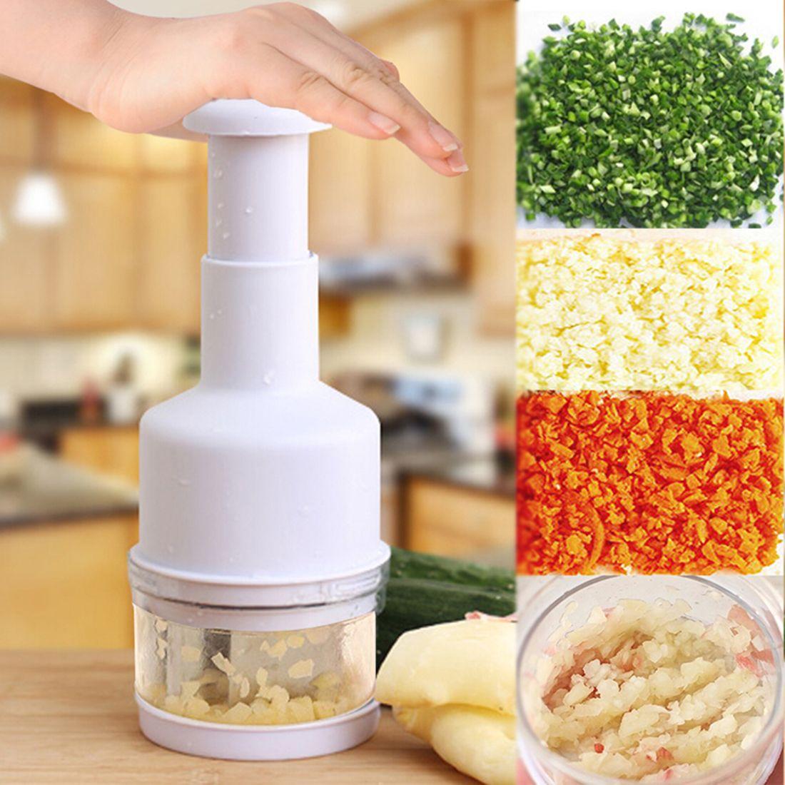 Nouveau Style Gadgets de cuisine en appuyant sur les légumes oignon ail Chopper Cutter trancheuse éplucheur multifonctionnel outil de cuisson couleur aléatoire