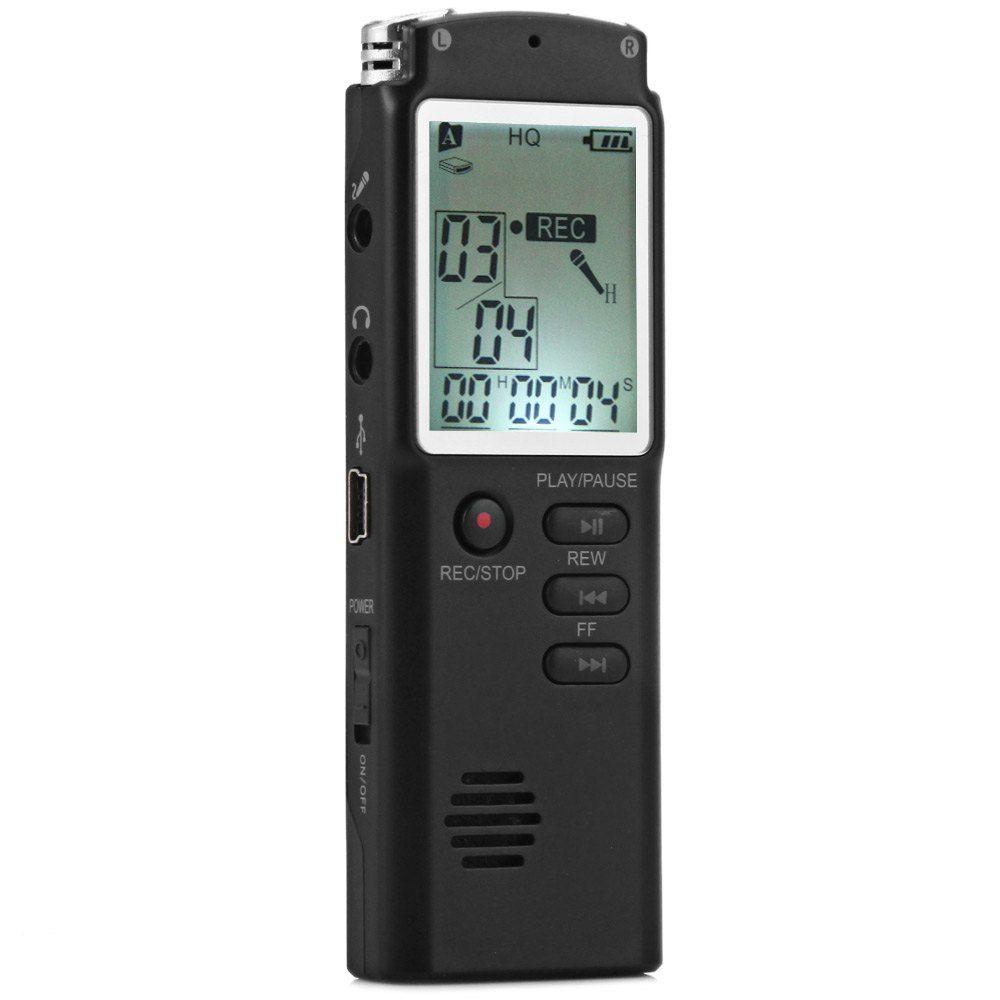 Enregistreur vocal à affichage LCD en temps réel professionnel haute fidélité 8 GB Dictaphone avec fonction de lecteur numérique de mémo vocal Audio MP3