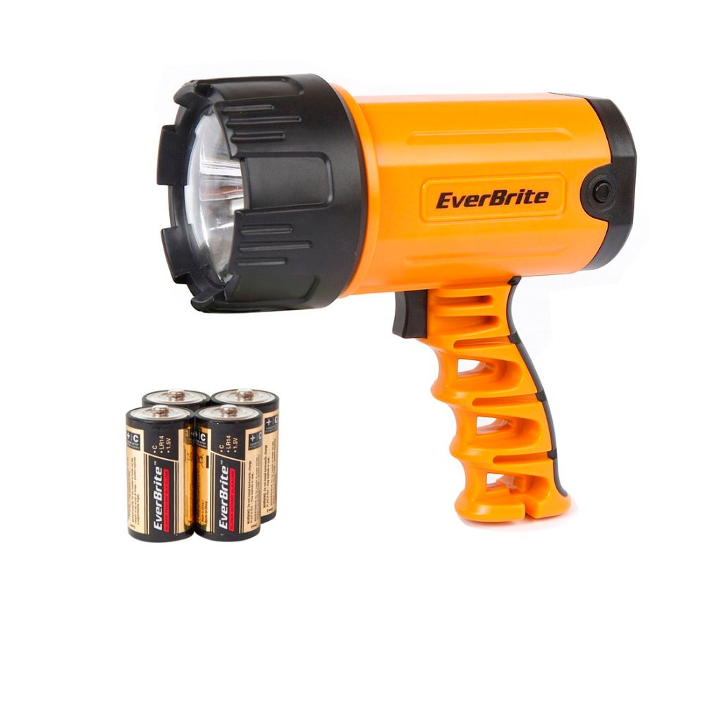 EVERBRITE 300 Lumens LED Searchlight Powerful Led Flashlight Zoomable Waterproof Portable Spotlights with 4C battery