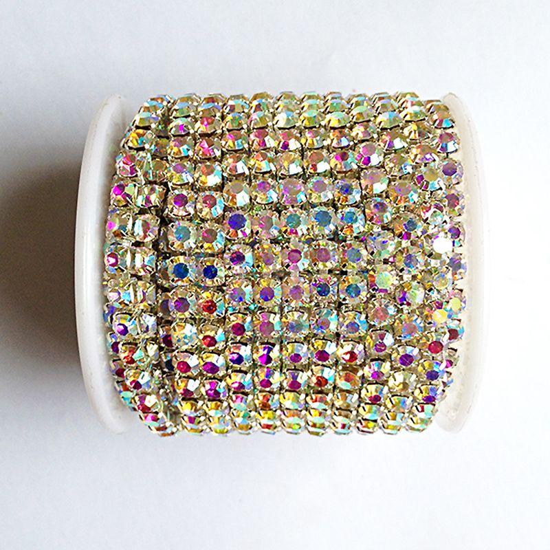 10 yards/rouleau cristal ab chaîne argent base SS6 à SS18 bricolage intensif accessoires de beauté strass chaîne
