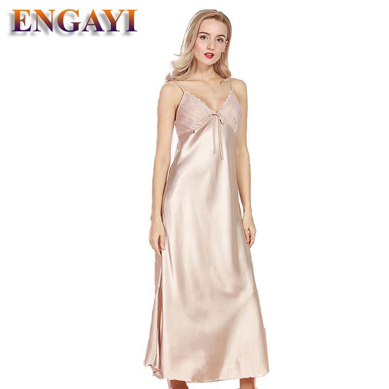 ENGAYI marque femmes robe de nuit d'été chemise de nuit en Satin de soie chemise de nuit grande taille dentelle vêtements de nuit Sexy Lingerie CQ311