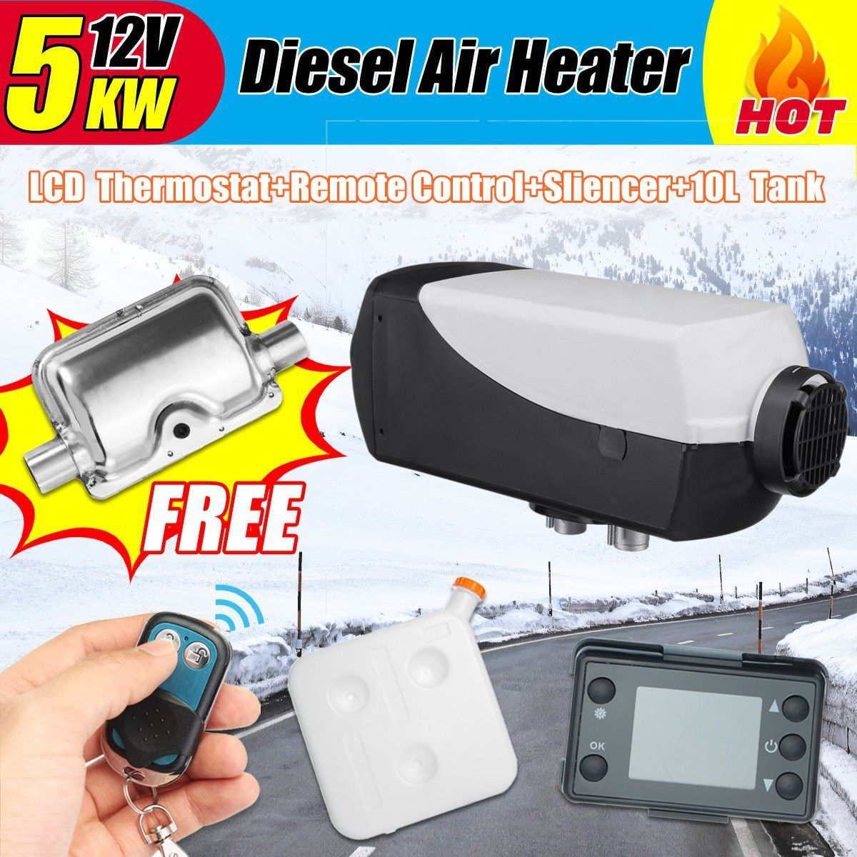 12V 5000W LCD Monitor Air diesels Fuel Heater Single Hole With Remote And Silencer 10L Tank 5KW For Trucks Boats Bus Car Heater