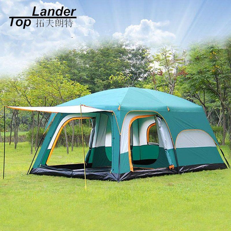 Großes Zelt Familie Wasserdichte Doppelschicht 8 10 12 Person Cabin Tent Zwei Wohnzimmer Luxus Camping Festzelt Zelte