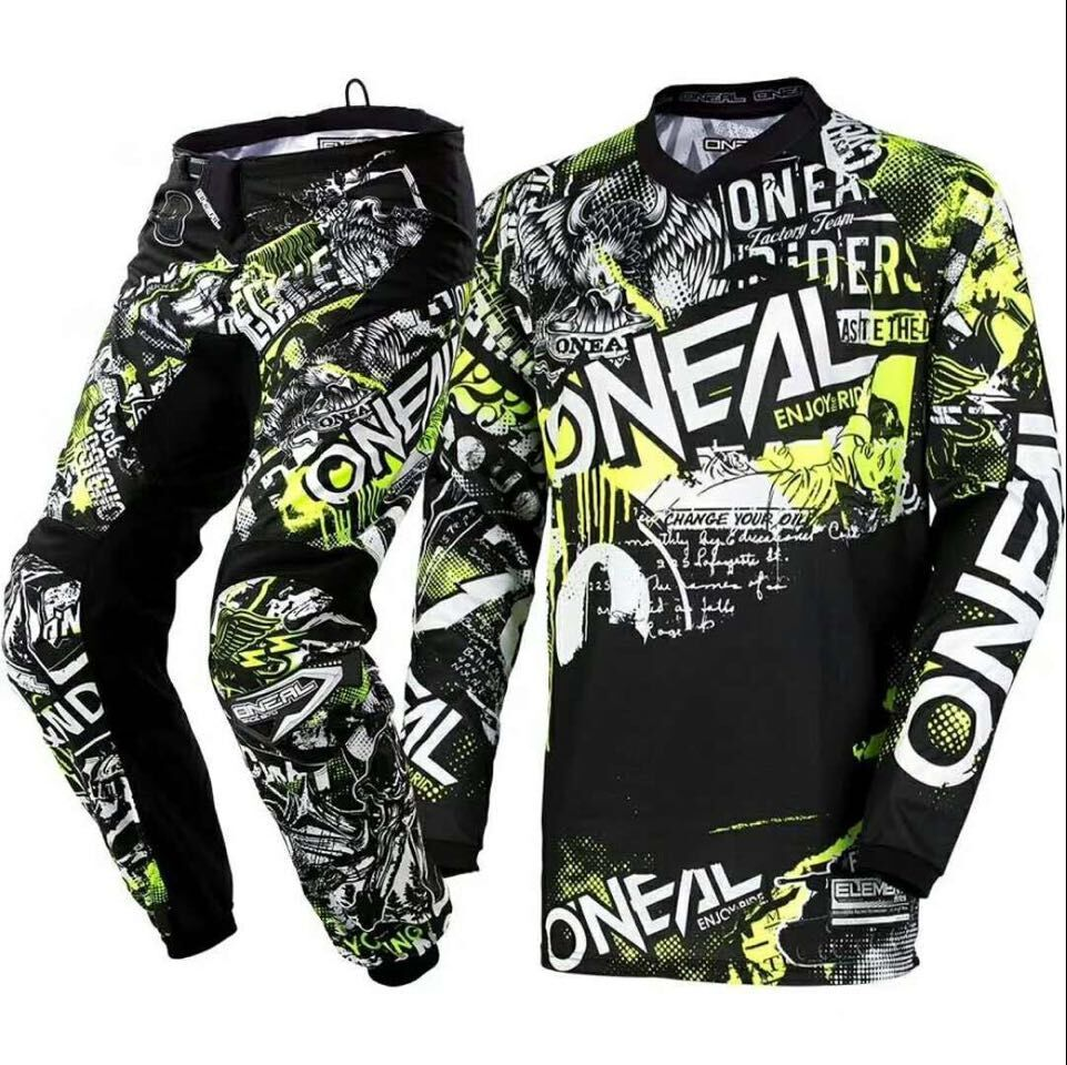 2018 Oneal Element Attack Motocross Jersey & Pants Black Hi-Viz Kit MX Set Riding Racing Gear Set