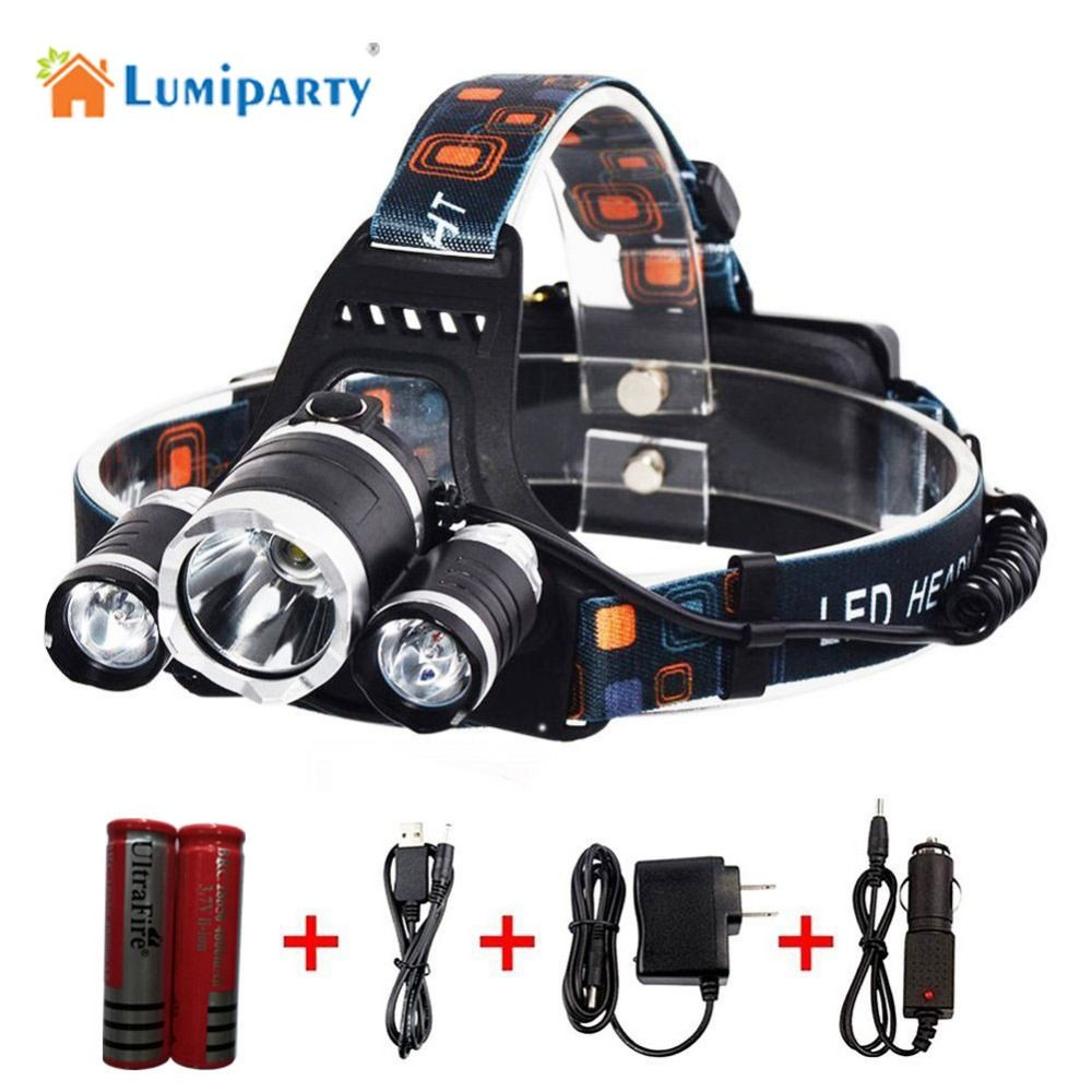 Lumiparty Headlamp 3xCREE T6 LED With 2*18650 Battery Wall/Car Charger USB Cable For Outdoor Sport Camping Hunting Hiking Riding