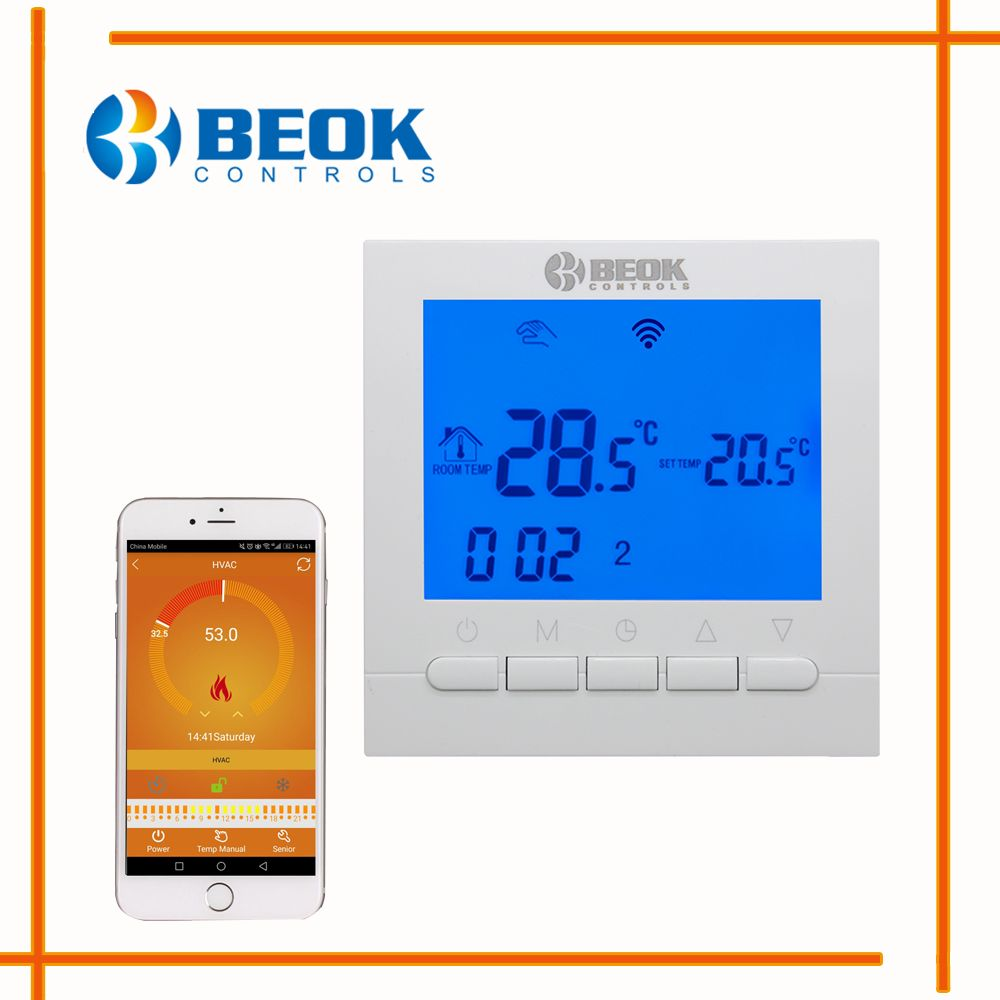 BEOK BOT-313 WIFI Gas Boiler Heating Thermostat Blue&White Room Temperature Controller Regulator for Boilers Weekly Programmable