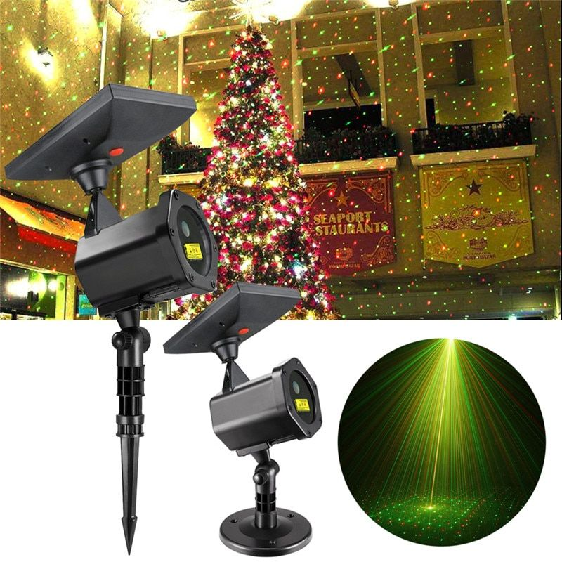 Solar LED Laser Projector Lamp Outdoor 2018 Christmas Party Lawn Lights Festival Spotlight Fairy Lights Starry Garden Laser Lamp