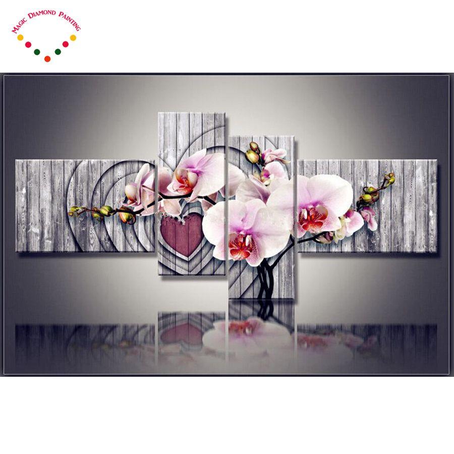 2018 4 шт. DIY Магнолия Орхидея 5D украшения дома алмаз живопись цветок мульти полный алмазного бурения 3D Алмазная вышивка Орхидея