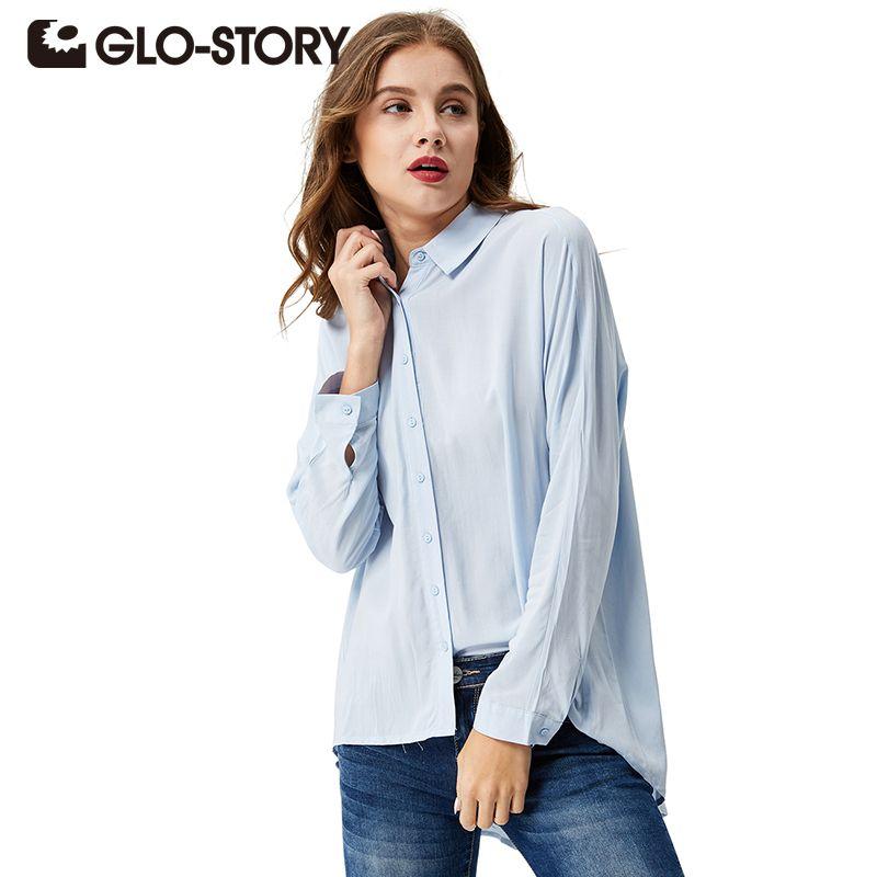 GLO-STORY femmes bouton décontracté Blouse 2018 automne à manches longues chemises solide lâche classique hauts Blusas WCS-3674