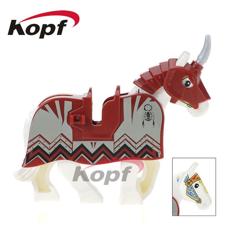 20Pcs Super Heroes Red War Horse Medieval Rome Knights Bricks Set Model Building Blocks Collection Toys Children Gift XH 601
