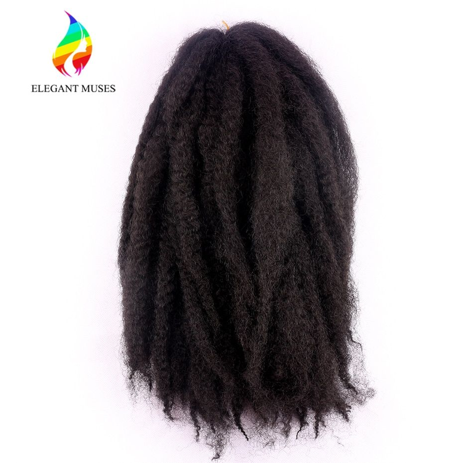 ELEGANT MUSES 100g/pcs 18 Inches Synthetic Afro Kinky Marley Braids Hair Extensions 100g/pcs Twist Crochet Braids