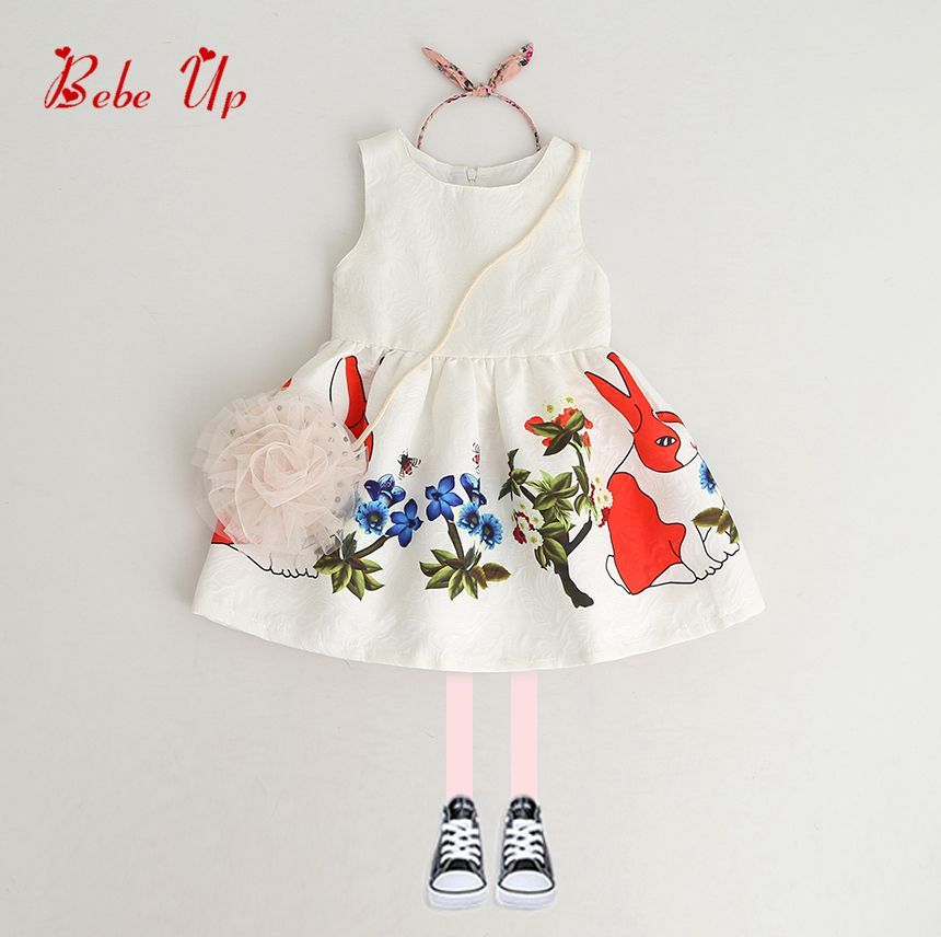 Boutiques Kids Girls 2018 Spring Baby Princess Flower Floral Dress Children Clothing Autumn Animal Rabbit Retail Lolita Clothes