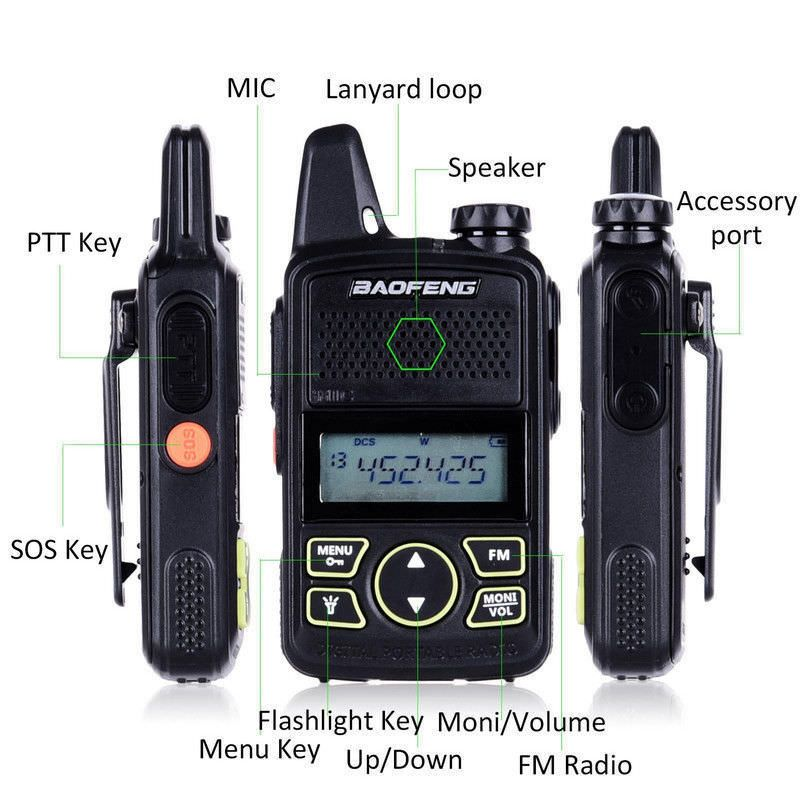 Walkie Talkie BF-T1 MINI Radio UHF 400-470MHz FM Transceiver With PTT Earpiece Hotel Civilian Radio Comunicacion Transceiver