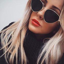 Anhelar Vintage Sexy Ladies Cat Eye Sunglasses mujeres moda rojo claro gafas marco de Metal gafas de sol para mujer UV400