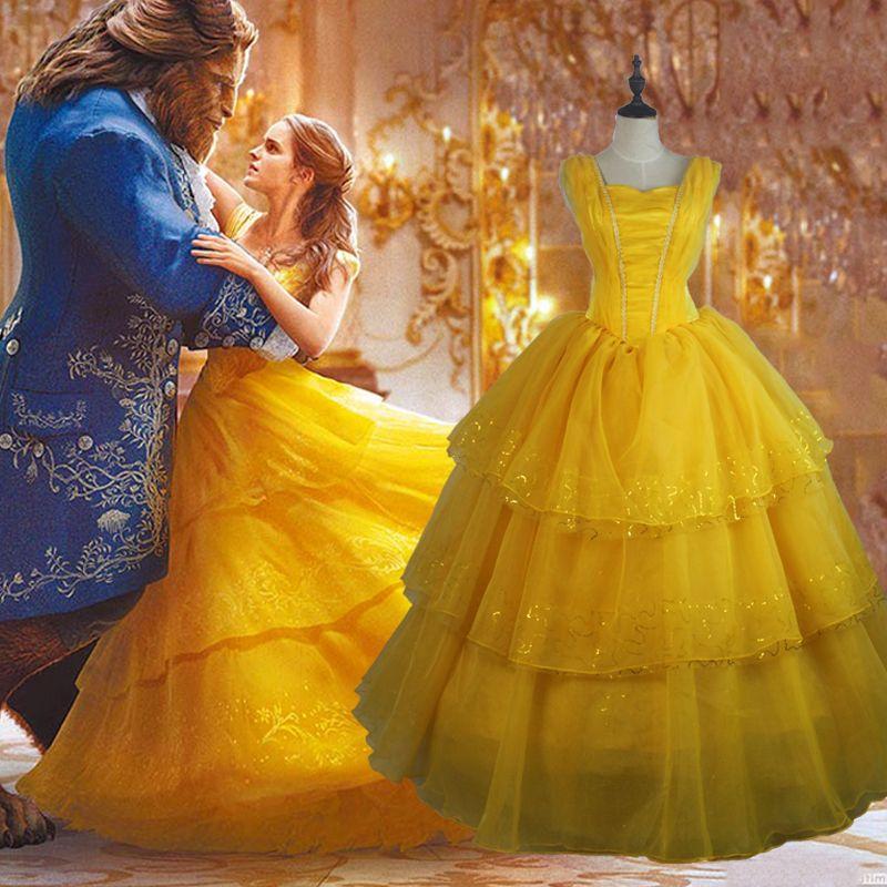 Adulte Beauté et la Bête Princesse Belle Cosplay Robe Emma Halloween party outfit femmes costumes beauté robes