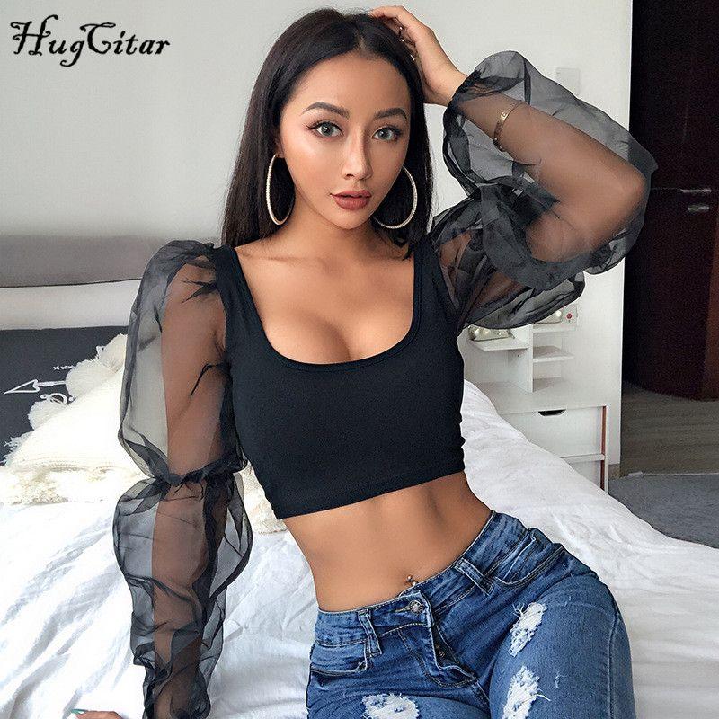 Hugcitar bouffée à manches longues dentelle maille transparent patchwork sexy crop hauts 2019 femmes printemps mode fête t-shirts streetwear