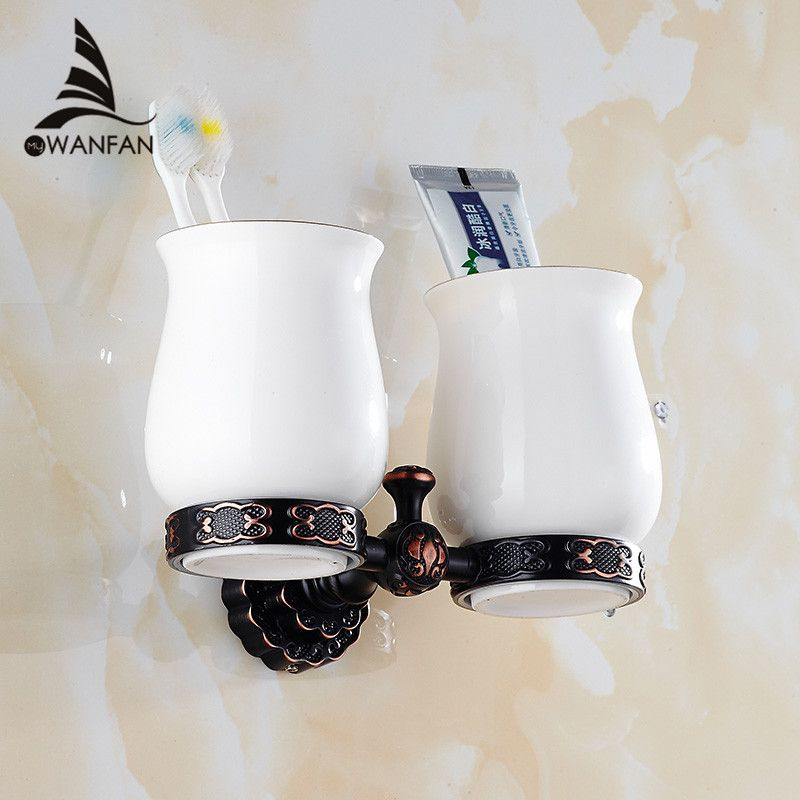Cup Holders Solid Brass Art Carved Contemporary Ceramic Cup Toothbrush Holder Wall Mount Cup Holder Bathroom Accessories FE-8608
